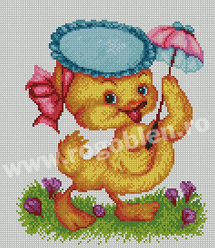Canard avec parapluie