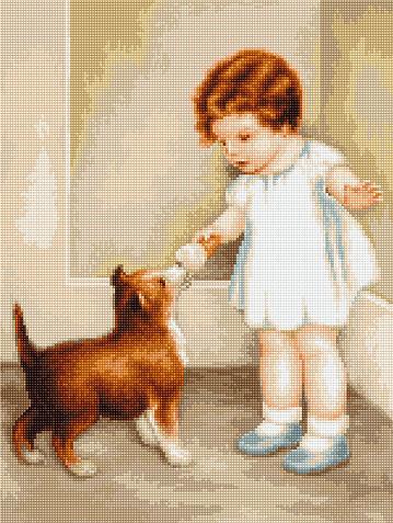 Fetita cu cainele