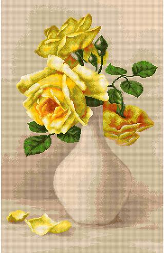 Trandafiri galbeni in vaza