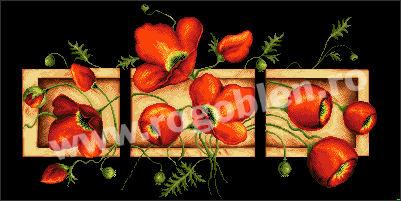 Triptyque avec des fleurs rouges
