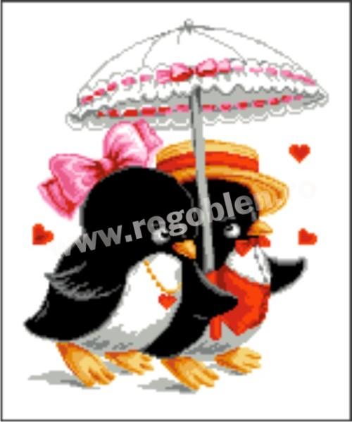 Pingouins sous parapluie