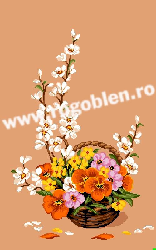 Ikebana con viole del pensiero