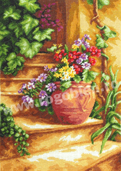 Escalier avec fleurs
