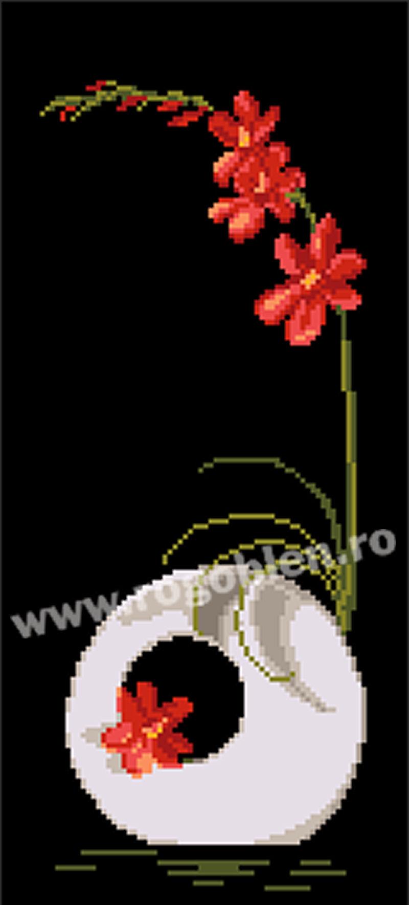Ikebana avec freesia rouge