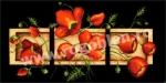 Goblen - Triptic cu flori rosii