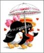 Goblen - Pinguini sub umbrela