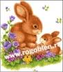 Goblen - Lapins dans le jardin de fleurs