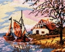 Goblen - Barci cu vele, toamna