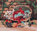 Goblen - Panchina con fiori