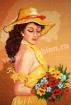 Goblen - Fata cu flori